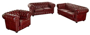 MANSFIELD 3er Sofa Chesterfield Couch Leder Rot – Bild 2