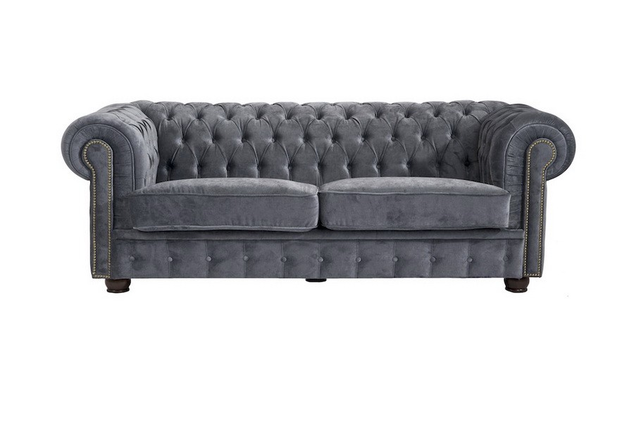mansfield 2er sofa chesterfield couch samtvelours grau polsterm bel chesterfield 2 sitzer. Black Bedroom Furniture Sets. Home Design Ideas