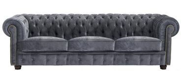 MANSFIELD 3er Sofa Chesterfield Couch Samtvelours Grau