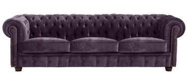 MANSFIELD 3er Sofa Chesterfield Couch Samtvelours Lila