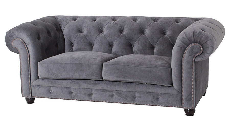 salford 2er sofa chesterfield couch samtvelours grau. Black Bedroom Furniture Sets. Home Design Ideas