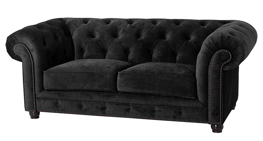 salford 2er sofa chesterfield couch samtvelours schwarz polsterm bel chesterfield 2 sitzer. Black Bedroom Furniture Sets. Home Design Ideas