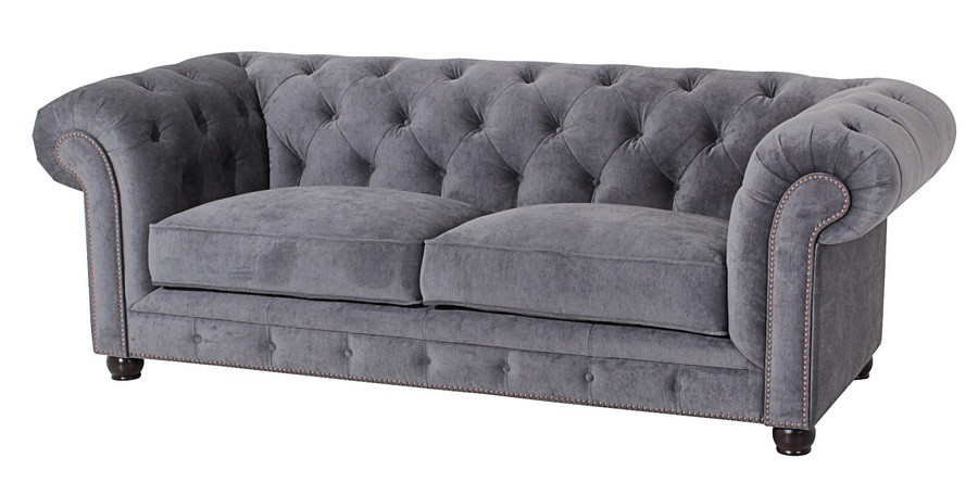salford 2 5er sofa chesterfield couch samtvelours grau polsterm bel chesterfield 3 sitzer. Black Bedroom Furniture Sets. Home Design Ideas