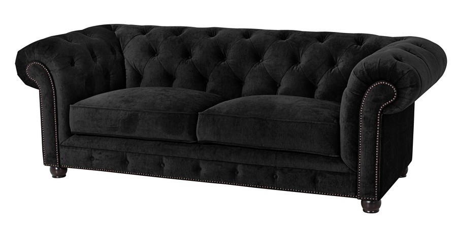 salford 2 5er sofa chesterfield couch samtvelours schwarz polsterm bel chesterfield 3 sitzer. Black Bedroom Furniture Sets. Home Design Ideas
