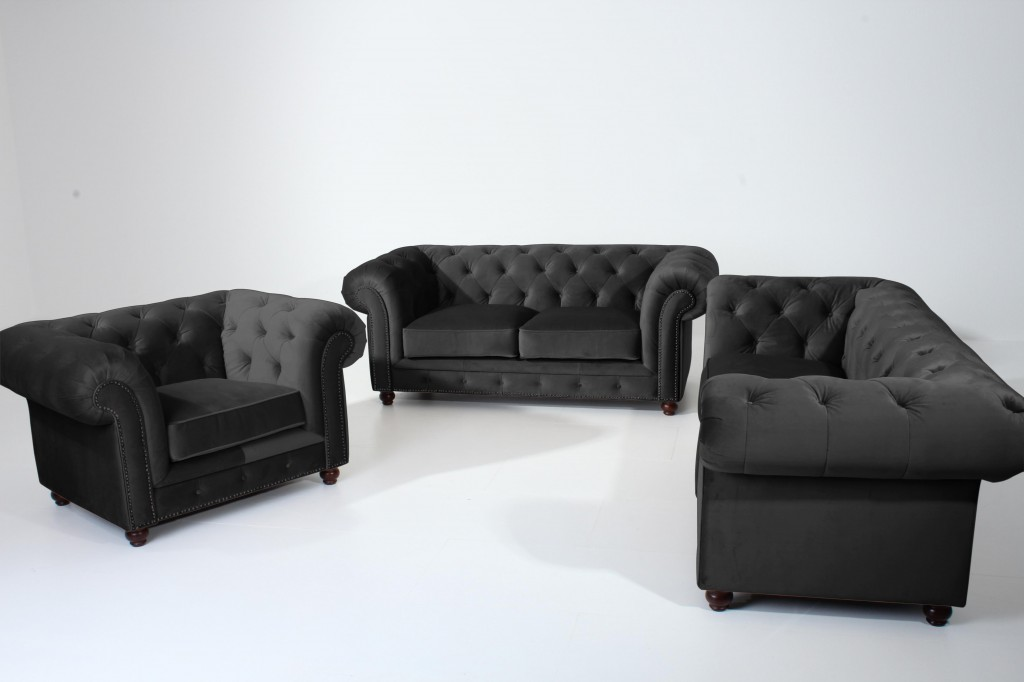 salford einzelsessel chesterfield sessel einzelsofa samtvelours schwarz polsterm bel. Black Bedroom Furniture Sets. Home Design Ideas