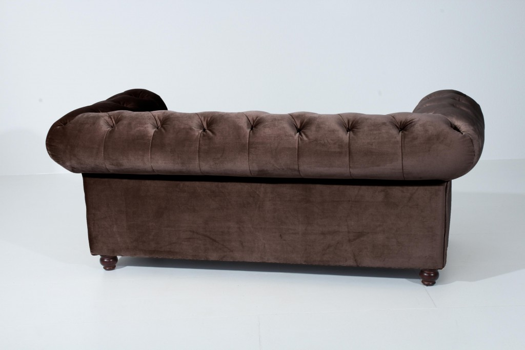 salford 2er sofa chesterfield couch samtvelours grau braun. Black Bedroom Furniture Sets. Home Design Ideas