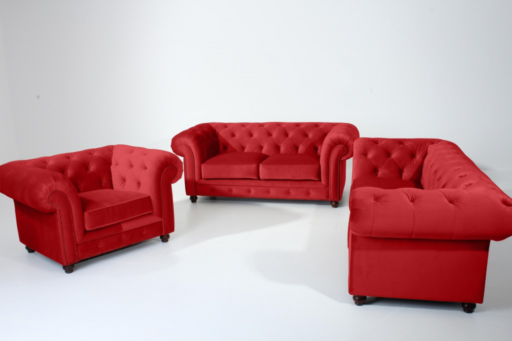 salford 2er sofa chesterfield couch samtvelours rot polsterm bel chesterfield 2 sitzer. Black Bedroom Furniture Sets. Home Design Ideas