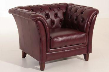 BARNSLEY Einzelsessel Chesterfield Sessel Einzelsofa Leder Rot – Bild 1