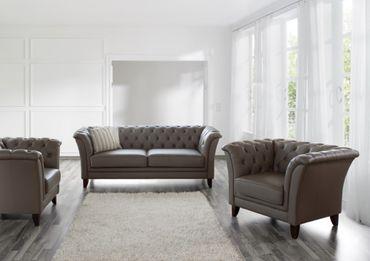 BARNSLEY 2er Sofa Chesterfield Couch Leder Stone-Grau – Bild 2