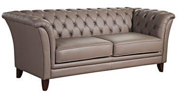 BARNSLEY 2,5er Sofa Chesterfield Couch Leder Stone-Grau – Bild 1