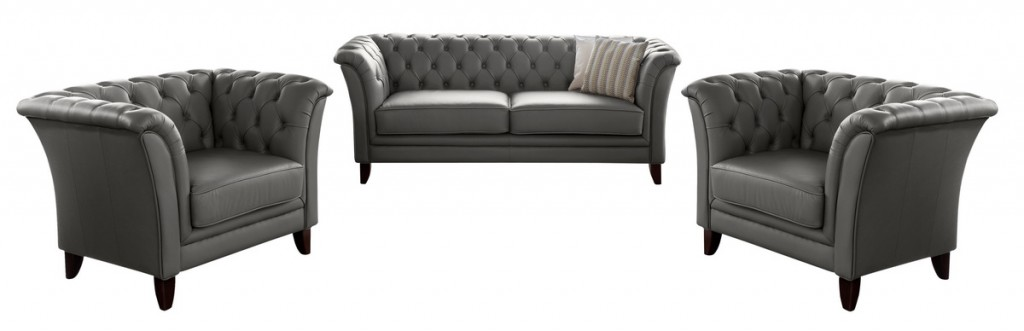 barnsley 2 5er sofa chesterfield couch leder graphit grau. Black Bedroom Furniture Sets. Home Design Ideas