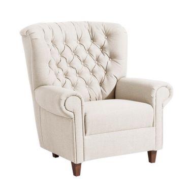 CORBY Hochlehnsessel Einzelsessel Sessel Einzelsofa Leinenoptik Creme – Bild 1