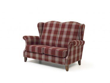 BARRY 2er Sofa Couch Flachgewebe Rot – Bild 1