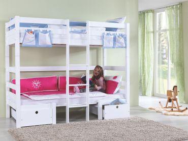 Etagenbett FINLEY Kinderbett Spielbett Bett Weiß/Braun – Bild 2