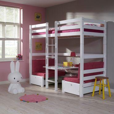 Etagenbett FINLEY Kinderbett Spielbett Bett Weiß/Pink – Bild 1