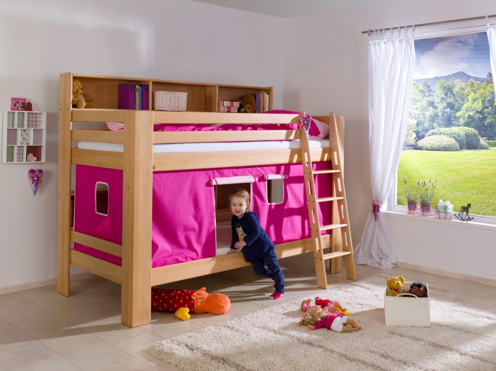 etagenbett jan kinderbett spielbett bett mit b cherregal buche pink rosa kids teens betten. Black Bedroom Furniture Sets. Home Design Ideas