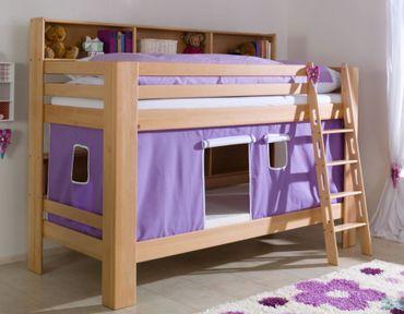 Etagenbett JAN Kinderbett Spielbett Bett mit Bücherregal Buche Lila/Weiß