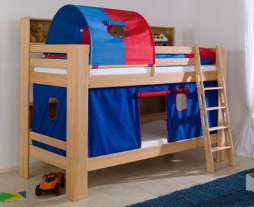 Etagenbett JAN Kinderbett Spielbett Bett mit Bücherregal Buche Blau/Rot