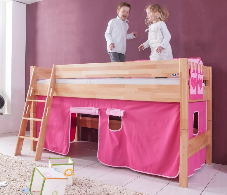hochbett kim kinderbett spielbett bett inklusive stoffset buche herz pink rosa kids teens. Black Bedroom Furniture Sets. Home Design Ideas