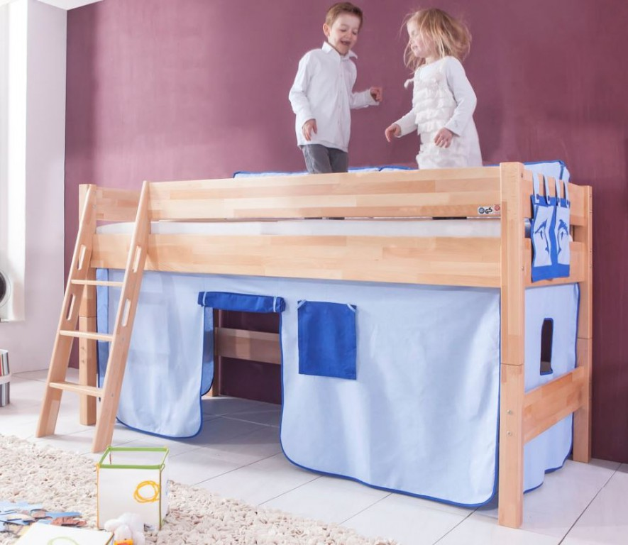 hochbett kim kinderbett spielbett bett inklusive stoffset buche delfin blau kids teens betten. Black Bedroom Furniture Sets. Home Design Ideas