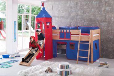 Hochbett KIM Kinderbett Spielbett Bett inklusive Rutsche Stoffset Buche Blau/Rot