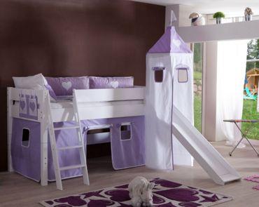 Hochbett KIM Kinderbett Spielbett Bett inklusive Rutsche Stoffset Weiß Herz Lila/Weiß