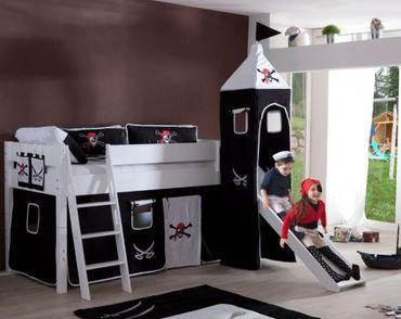 Hochbett KIM Kinderbett Spielbett Bett inklusive Rutsche Stoffset Weiß Pirat Schwarz/Weiß