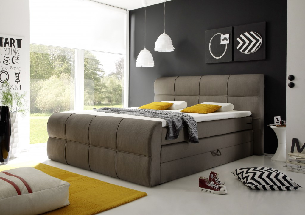 sonderpreis minnesota boxspringbett mit bettkasten 180x200 bett ehebett stone ebay. Black Bedroom Furniture Sets. Home Design Ideas