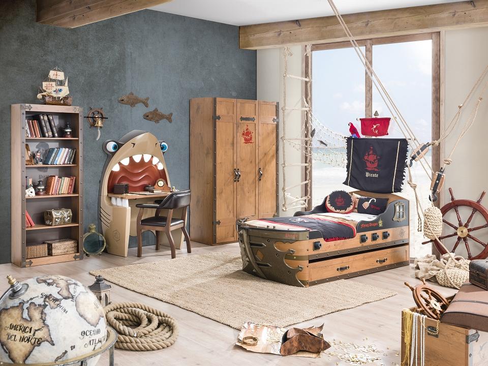 Cilek PIRATE 1 Kinderzimmer Set Komplettset Kinder Spielzimmer Piraten Braun