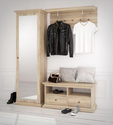 * SONDERPREIS * Paris Paneel Wandgarderobe Garderobenpaneel Eiche Struktur – Bild 2