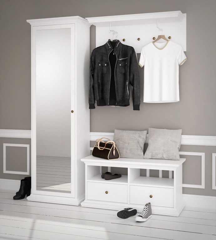 paris garderoben set komplettset kompaktgarderobe flur wei diele flur garderobe komplettsets. Black Bedroom Furniture Sets. Home Design Ideas