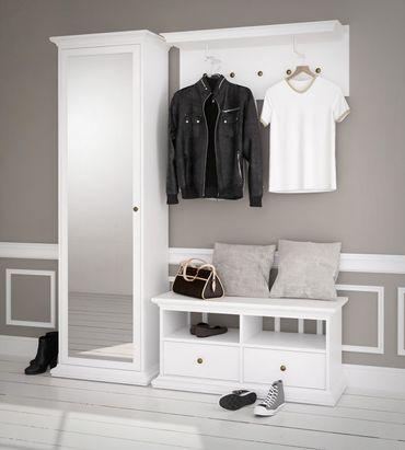 Paris Garderoben Set Komplettset Kompaktgarderobe Flur Weiß  – Bild 1