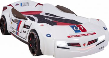 Cilek BiTURBO Autobett Kinderbett Bett Rennfahrerbett Weiß – Bild 1