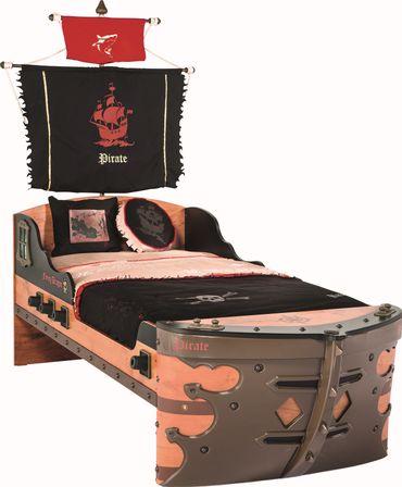 Cilek PIRATE S Bett Kinderbett Piratenbett Schiff Braun 90x190 cm