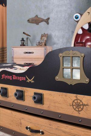 Cilek PIRATE S Bett Kinderbett Piratenbett Schiff Braun 90x190 cm – Bild 3