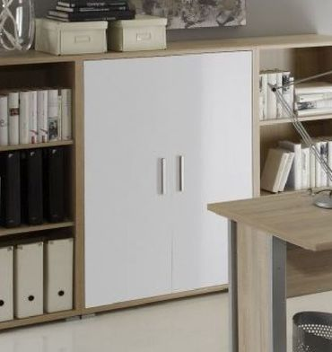 OFFICE LINE Highboard Schrank 3 OH Sideboard Homeoffice Eiche Sonoma Weiß