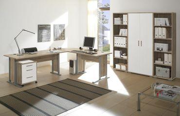 Komplettbüro OFFICE LINE Komplettset Homeoffice Eiche Sonoma/Weiß – Bild 1