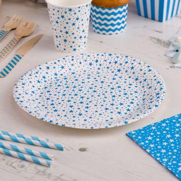 Pappteller Stars blau 8 Stück