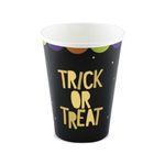"""Halloween Pappbecher """"Trick or Treat"""" schwarz 6 Stück"""