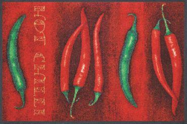 wash+dry Küchenteppich Hot Chili waschbar trocknergeeignet rutschfest robust – Bild 1