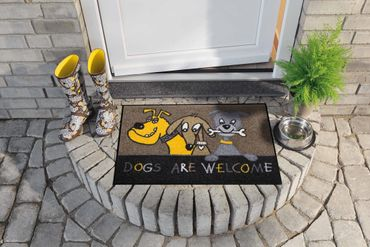 Dogs are welcome 50 x 75 cm waschbare Fußmatte Salonloewe Tiermotiv