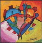 balanced love II 85 x 85 cm Alfred Gockel waschbare Fußmatte 001