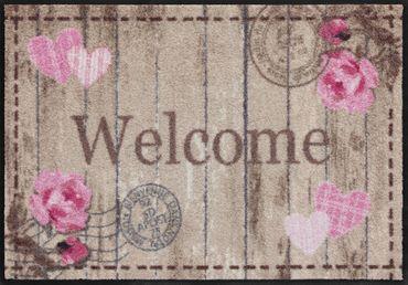 Welcome Roses von Salonloewe waschbare Fußmatte Blumenfußmatte – Bild 2