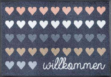 Willkommen Herzen 50 x 75 cm waschbare Fußmatte wash+dry