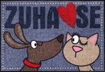 Salonloewe Fußmatte Dog loves Cat 50 x 75 cm lustige waschbare Fußmatte  001