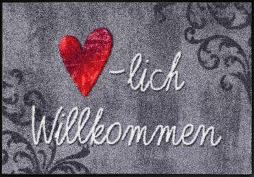 Salonloewe Fußmatte Herzlich Aquarell 50 x 75 cm waschbare Fußmatte