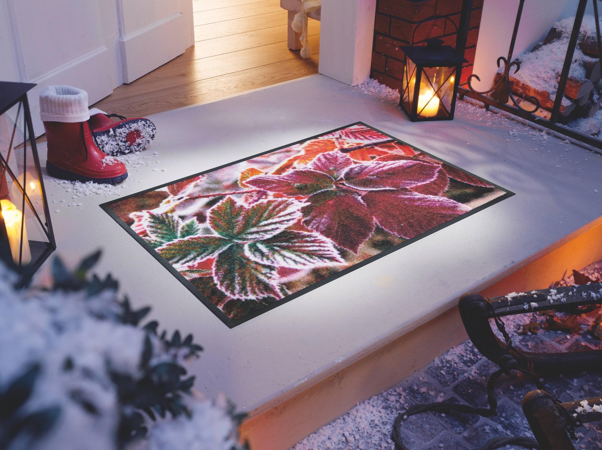 wash dry fu matte frozen leaves waschbare fu matte wintermotiv. Black Bedroom Furniture Sets. Home Design Ideas