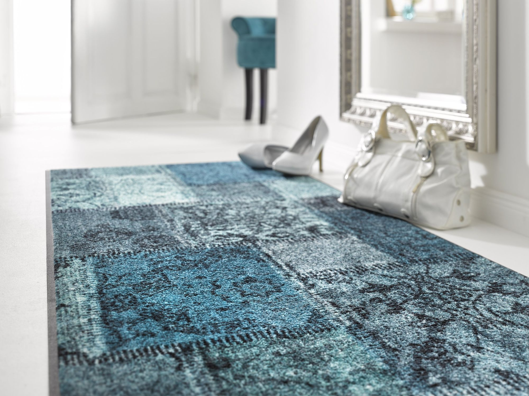 wash dry schmutzmatte vintage patches t rkis waschbar schmutzmatte fu abstreifer ebay. Black Bedroom Furniture Sets. Home Design Ideas