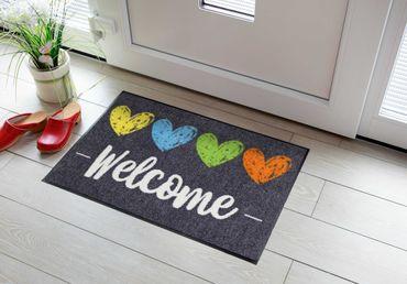 Salonloewe Fußmatte Heart Welcome waschbare Schmutzmatte – Bild 3