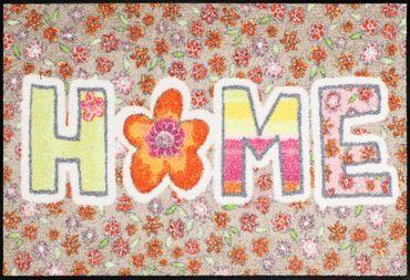 Salonloewe Fußmatte Doodle Flower 50 x 75 cm Flower-Power waschbare Schmutzmatte